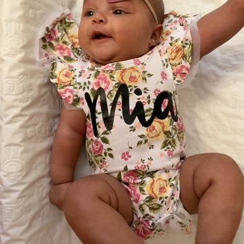 Floral Ruffle Sleeve Custom Name Onesuit - Mia Grace Designs