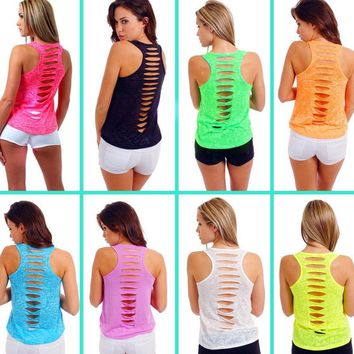 2017 Fashion New Ladies Hollow Back Sleeveless Bodycon Tank Top Women Sexy  Solid Vest Tops   FS99