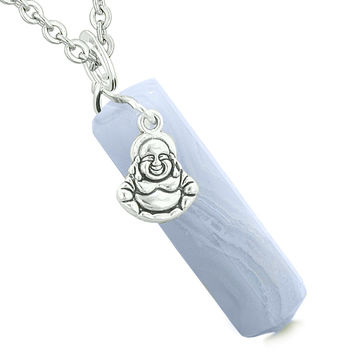 Happy Laughing Buddha Magic Powers Amulet Crystal Point Pendant Blue Lace Agate 22 inch Necklace