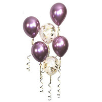 Mauve Gold Confetti Balloons, Shiny Chrome Latex Balloon, Wedding Bridal Party Bachelorette Birthday Party