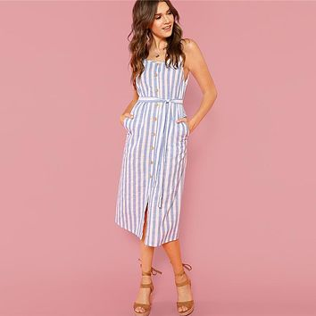 Button Front Vertical Stripe Cami Dress Spaghetti Strap Sleeveless Knee Length Dresses Women Casual Dress