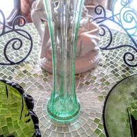 Rare Chantilly Green Mid-Century Long Glass Vase Also Known as Vaseline Green