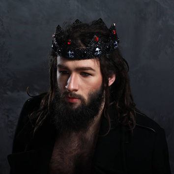 Leviathan Gothic Crown, Vampire Crown, Black, crown, Goth Fashion, costume crown, satanic,  male crown, men crown, king crown medieval dolce
