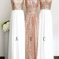 Bridesmaid Dresses Rose Gold Long Elegant Pretty Charming Bridesmaid Dresses