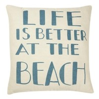 Life is Better at the Beach - Canvas Throw / Accent Pillow - White & Blue 13-in x 13-in