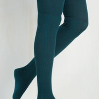 All in Alcove Thigh Highs in Teal Size OS by ModCloth