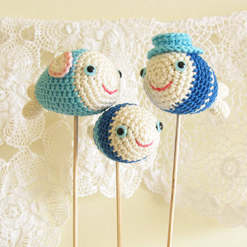Baby Shower Cake Topper , Fish Family, Nautical Baby Shower