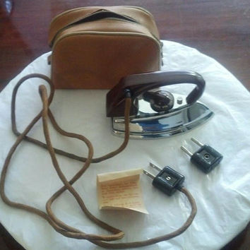 Vintage German travel iron // 1950s AZN Automaticus // small portable German travel iron / F3