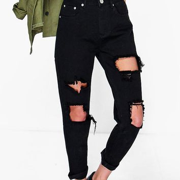 High Waist Distress Boyfriend Jeans | Boohoo