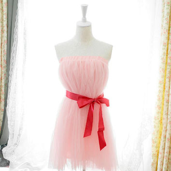 Sweet heart fairytale ballerina style baby pink  tutu tulle puff skirt /dress 2 way