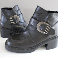 Size 8 Chunky Platform Boots Leather Anlke Boots Vintage 90s Buckle Booties Chelsea Boots Zip Up Booties Club Kid Goth #S033A