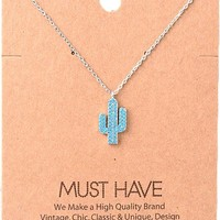 Must Have Necklace-Bling Cactus , Silver