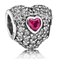 Authentic Pandora Jewelry - In My Heart w-CZ & Syn. Ruby