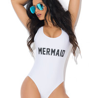 Mermaid One Piece Swimsuit WHITE