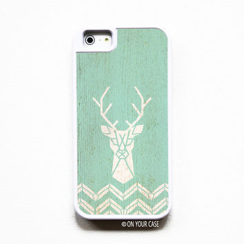 iPhone 5 Case. iPhone 5S Case. Silicone Lined Tough Case - Wood Deer Teal