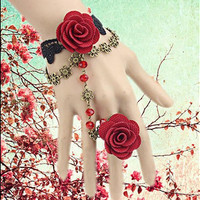 Gothic Red Flower Bracelet Ring Linked