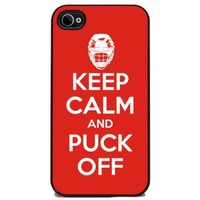 Keep Calm and Puck Off - Hockey - iPhone 4 or 4s Cover, Cell Phone Case - Black