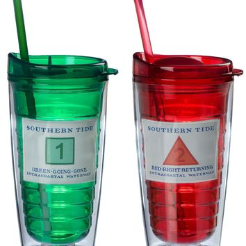 Collectible Channel Marker Tumbler Set in Red & Green by Southern Tide