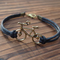 Bike Bracelet Single Bicycle Bracelet in Vintage Bronze Color-Black Leather Bracelet-Men Women Gift-Best Friendship Jewelry Gift