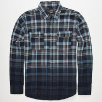 Blue Crown Mens Dip Dye Flannel Shirt Navy  In Sizes