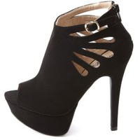 Cut-Out Peep-Toe Platform Booties by Charlotte Russe - Black