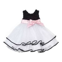 Rare Editions Baby-Girls Infant Rosette Bodice to Tulle Skirt Dress, Black/White, 12 Months