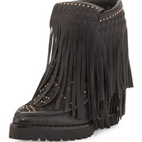 Wynona Fringe Wedge Bootie, Black