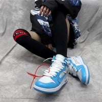 "Off White x Nike Air Jordan 1 In UNC AJ ""Powder Blue"" AQ0818-148"