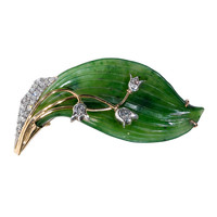Gold-Mounted Nephrite Lily of the Valley Brooch