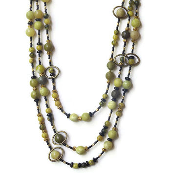 Extra Long Multi Strand Avocado Green Necklace, Semiprecious Stone Jewelry, Boho Chic Hippie Necklace, OOAK Handmade Unique ALFadesigns