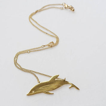 Gold plated brass dolphin