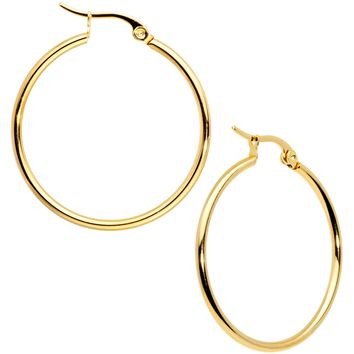 30mm Gold Tone PVD Stainless Steel Hoop Earrings