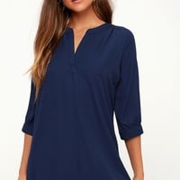 High Line Navy Blue Shift Dress