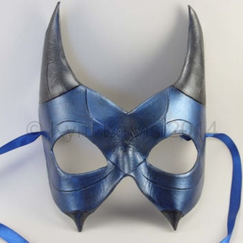 Leather Demi Dragon Mask Blue and Silver Masquerade Mask Hand Carved