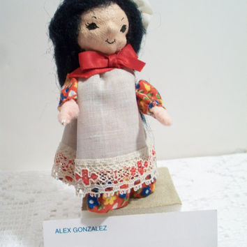 Vintage Clothespin Doll Scullery Maid Folk Art Red Calico Print Lace Dress Black Braided Hair