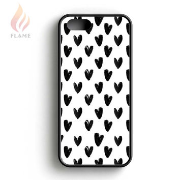 Kate Spade Black White Watercolour Hearts iPhone 5 Case iPhone 5s Case iPhone 5c Case