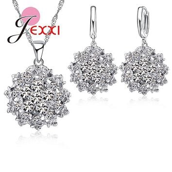 Wedding Jewelry Sets 925 Sterling Silver Charming Cubic ia CZ Crystal Novel Ball Shape Pendant Neckalce Drop Earings Set