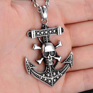 Gift New Arrival Jewelry Shiny Stylish Vintage Sea Skull Strong Character Anime Style Titanium Accessory Necklace [6542510019]