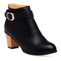 Black Chunky Heel Ankle Boots With Buckle Strap