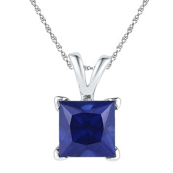 Sterling Silver Womens Princess Lab-Created Blue Sapphire Solitaire Pendant 1-1/3 Cttw