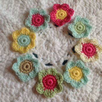 Hand Crochet Flower Appliques Embellishments Set of 8-Key Lime Pie Sunshine Yellow Hot Pink Mint Green Taupe Creamy White