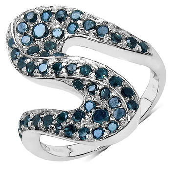 0.76 Carat Genuine Blue Diamond .925 Sterling Silver Ring