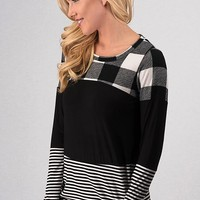 Color Block Buffalo Plaid Top - Black and White