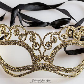 Francine Flower Gold Masquerade Mask | Crystal