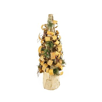 "23"" Rustic Tree Bark Inspired Flocked Table Top Christmas Cone Tree with Pine and Berries"