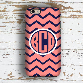 Chevron Iphone 5c case, Preppy Iphone 6 Plus cover for girls, Teen girls Iphone 5 case, Cute iphone 6s case, Coral pink navy blue (9812)