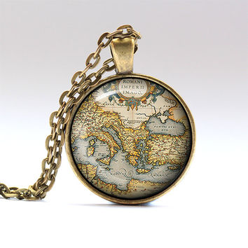 Old map pendant Antique map chain Geography necklace RO1359