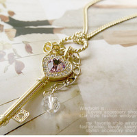 Stylish and Mix-Matched Key and Purple Imperial Crown Embellish Sweater Chain China Wholesale - Sammydress.com