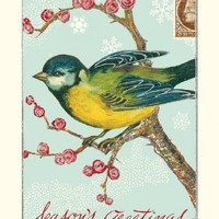Cavallini Glitter Greetings Bird on Branch Boxed Notes, 10 Notes and Envelopes