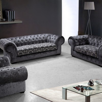 Divani Casa Metropolitan - Modern Fabric Sofa Set with Tufted Acrylic Crystals